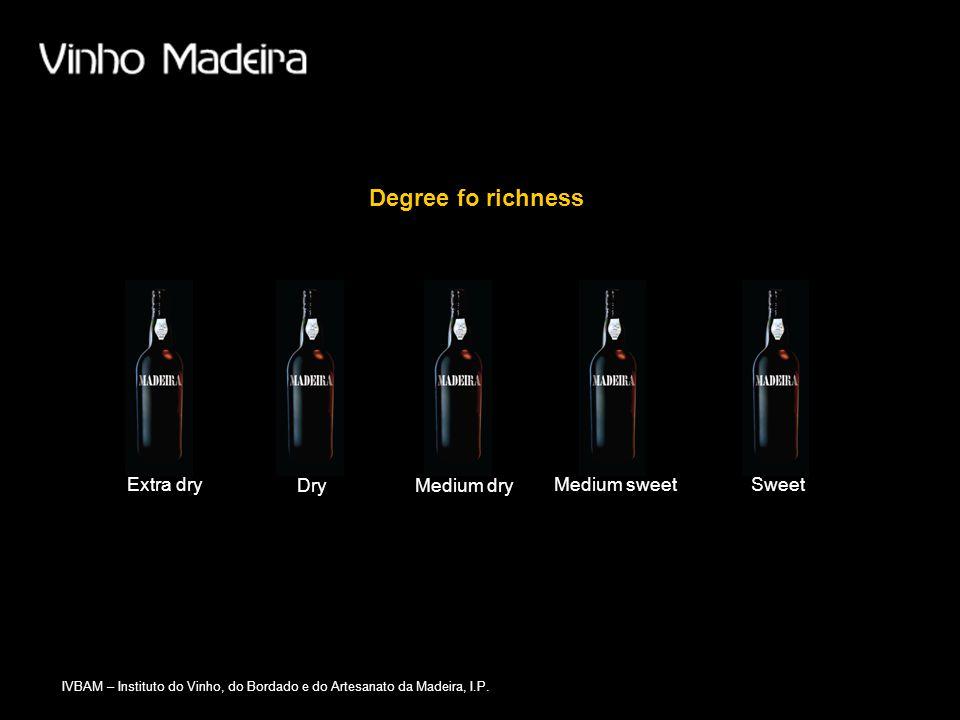IVBAM – Instituto do Vinho, do Bordado e do Artesanato da Madeira, I.P. Medium dryDry Degree fo richness Extra dryMedium sweetSweet
