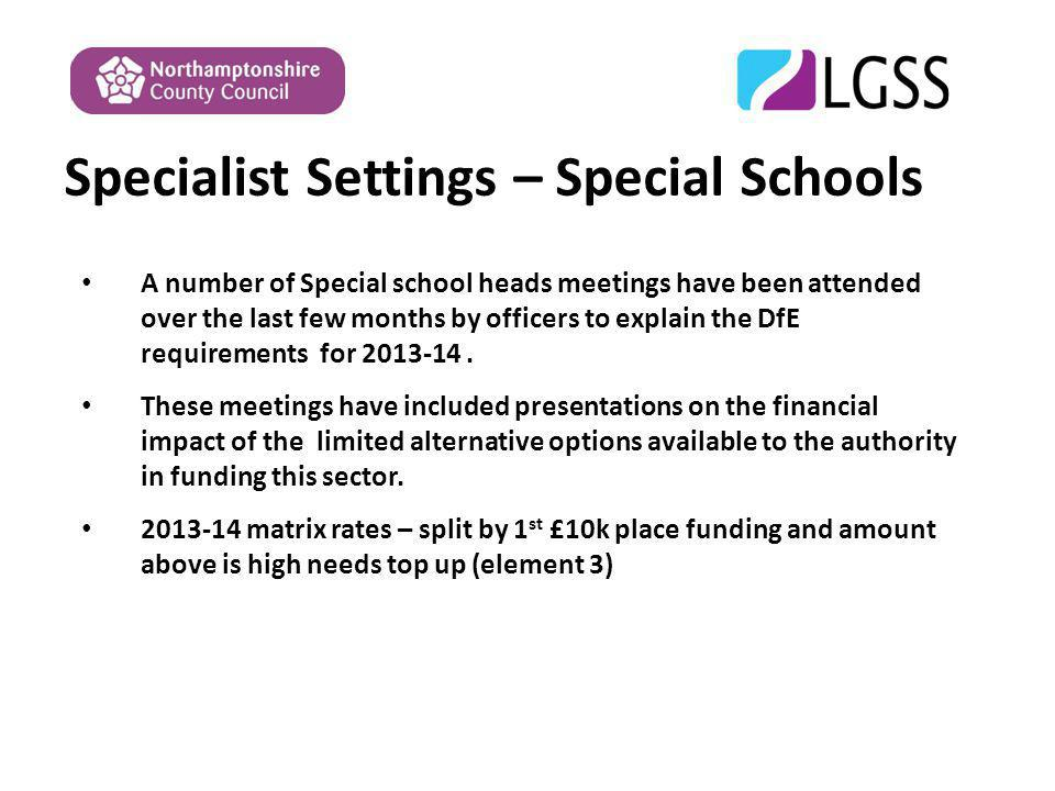 Specialist Settings – Special Schools A number of Special school heads meetings have been attended over the last few months by officers to explain the DfE requirements for 2013-14.