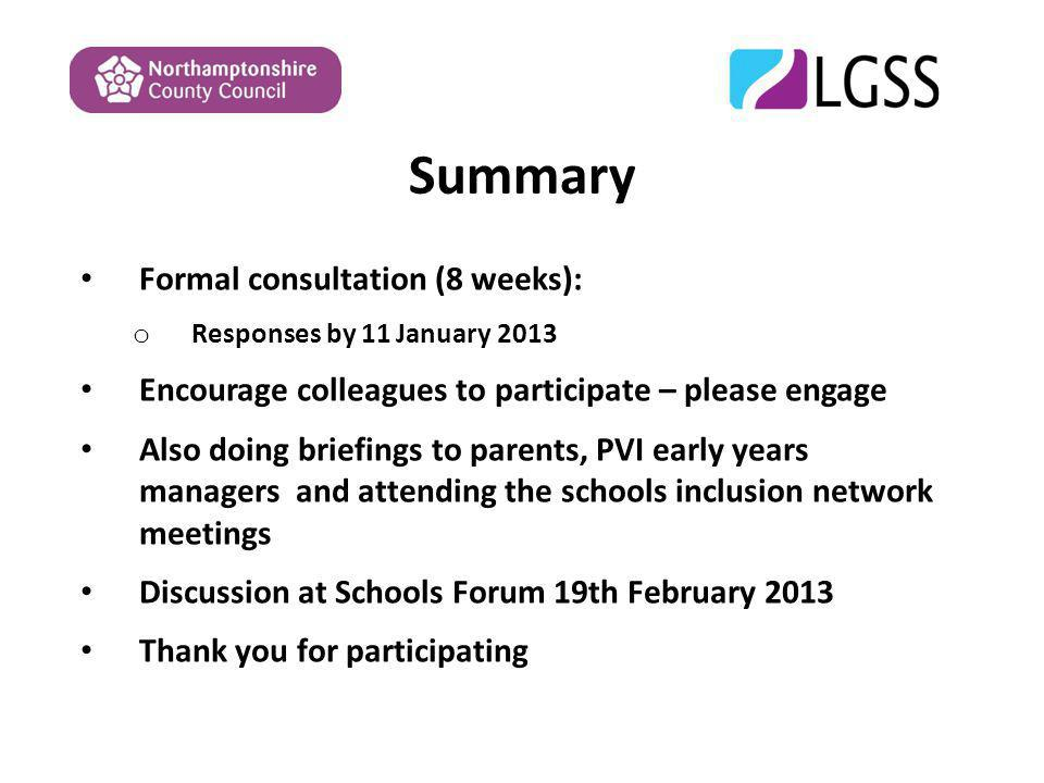 Summary Formal consultation (8 weeks): o Responses by 11 January 2013 Encourage colleagues to participate – please engage Also doing briefings to parents, PVI early years managers and attending the schools inclusion network meetings Discussion at Schools Forum 19th February 2013 Thank you for participating