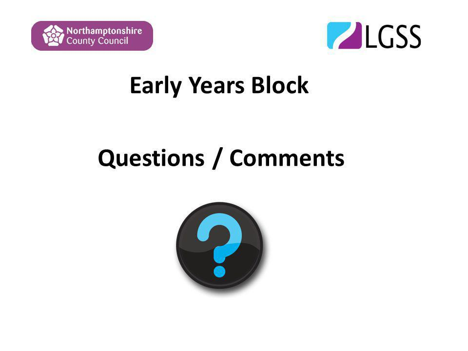 Early Years Block Questions / Comments