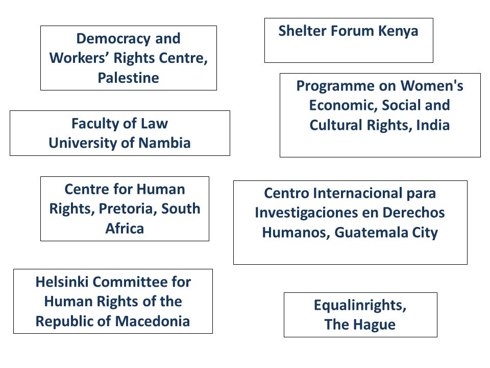 Democracy and Workers' Rights Centre, Palestine Shelter Forum Kenya Faculty of Law University of Nambia Programme on Women s Economic, Social and Cultural Rights, India Centre for Human Rights, Pretoria, South Africa Centro Internacional para Investigaciones en Derechos Humanos, Guatemala City Helsinki Committee for Human Rights of the Republic of Macedonia Equalinrights, The Hague