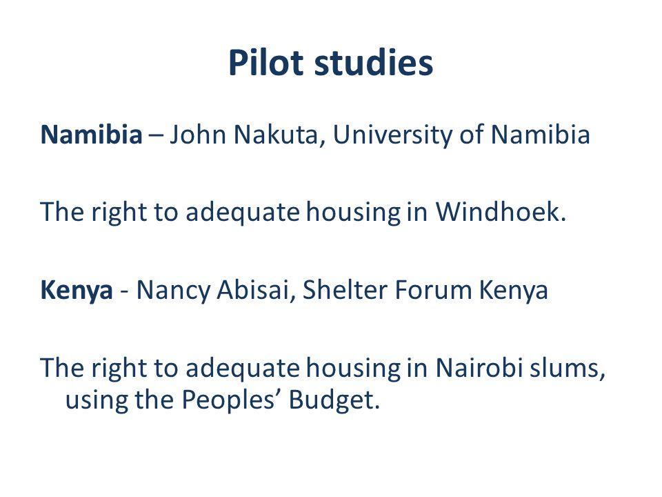 Pilot studies Namibia – John Nakuta, University of Namibia The right to adequate housing in Windhoek.