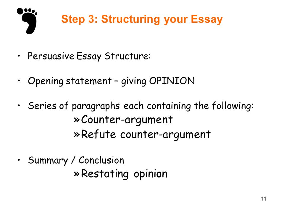 11 Step 3: Structuring your Essay Persuasive Essay Structure: Opening statement – giving OPINION Series of paragraphs each containing the following: »