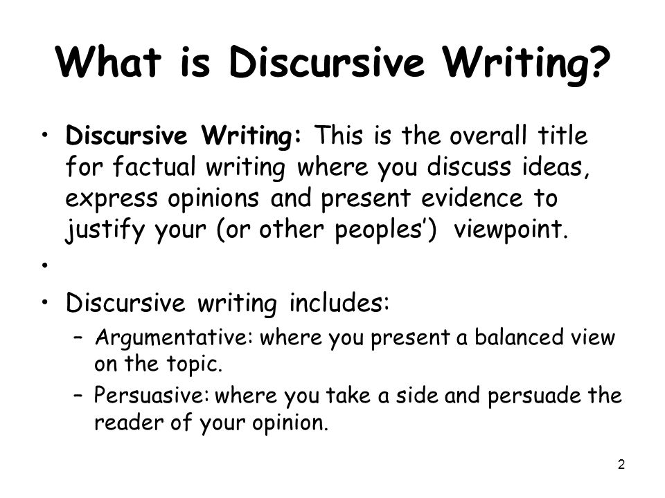 Ideas for discursive essays