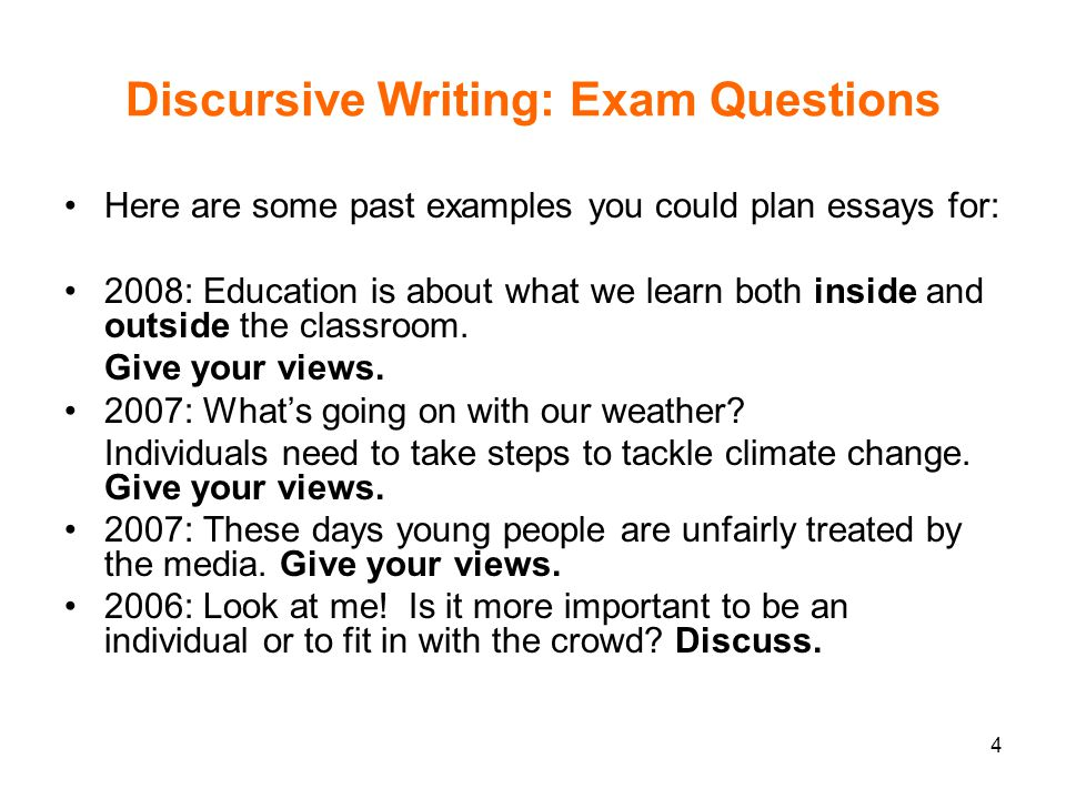 Topics For A Discursive Essay