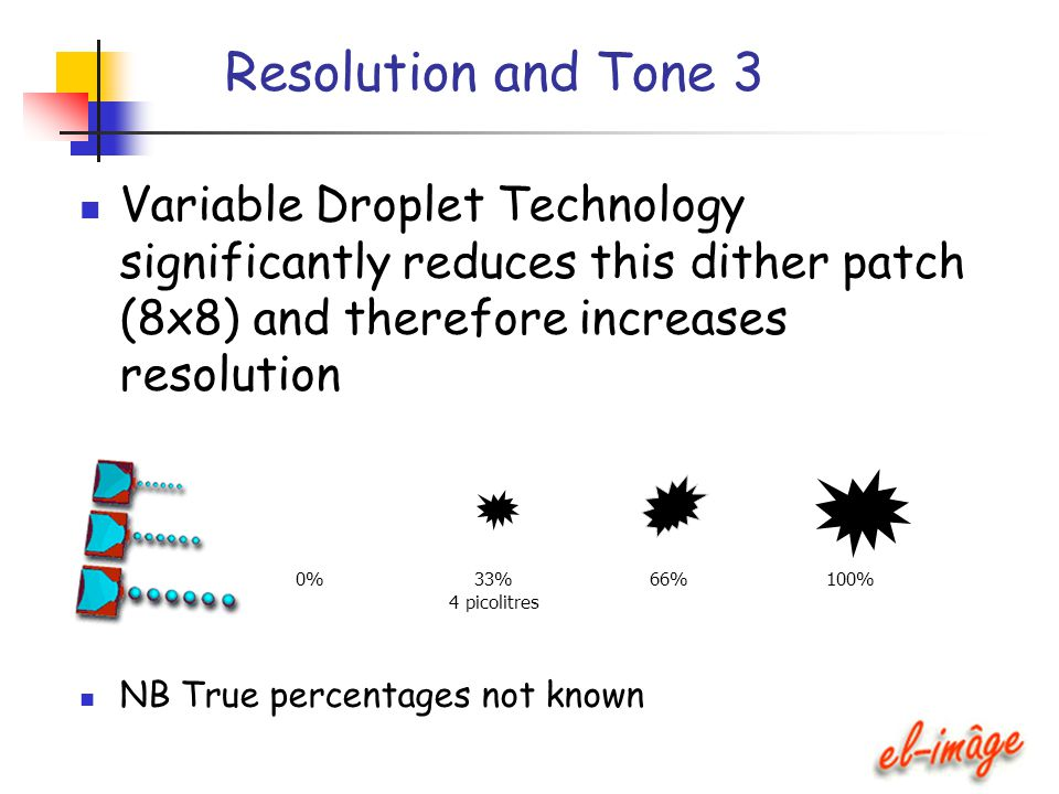 Resolution and Tone 3 Variable Droplet Technology significantly reduces this dither patch (8x8) and therefore increases resolution NB True percentages