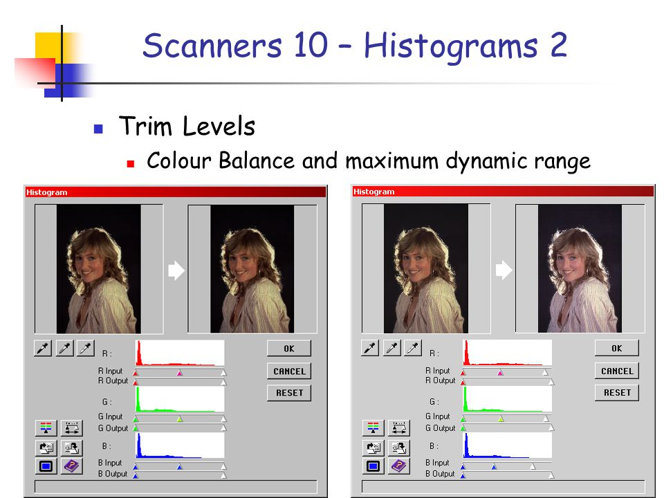 Scanners 10 – Histograms 2 Trim Levels Colour Balance and maximum dynamic range
