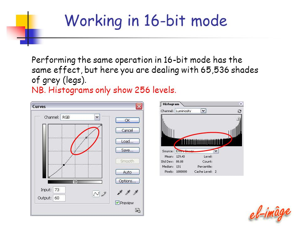 Working in 16-bit mode Performing the same operation in 16-bit mode has the same effect, but here you are dealing with 65,536 shades of grey (legs). N