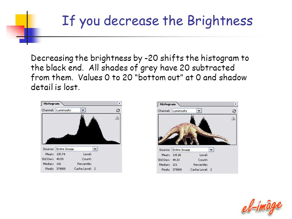If you decrease the Brightness Decreasing the brightness by -20 shifts the histogram to the black end. All shades of grey have 20 subtracted from them