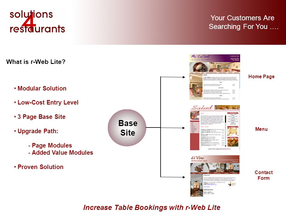 Your Customers Are Searching For You …. Increase Table Bookings with r-Web Lite What is r-Web Lite.