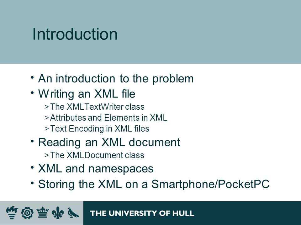 Introduction  An introduction to the problem  Writing an XML file >The XMLTextWriter class >Attributes and Elements in XML >Text Encoding in XML files  Reading an XML document >The XMLDocument class  XML and namespaces  Storing the XML on a Smartphone/PocketPC