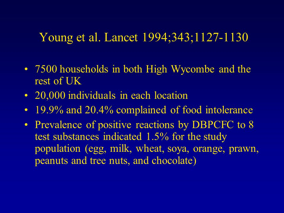 Young et al. Lancet 1994;343;1127-1130 7500 households in both High Wycombe and the rest of UK 20,000 individuals in each location 19.9% and 20.4% com