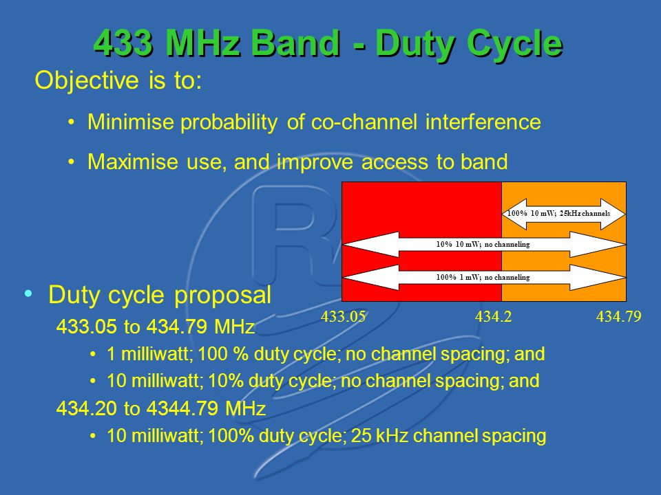 450 to 470 MHz Band Re-alignment of the UHF band with Europe Currently, it is planned to leave the 458 MHz SRD Band as it is TETRA could end up near to 458 MHz SRD Band Need to maintain quality receivers