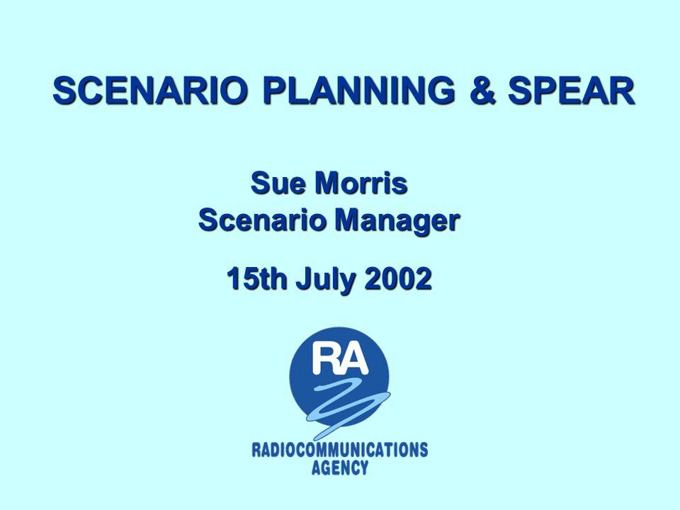 Agenda Scenario Planning in RA Future plans: SPEAR (Scenario Planning, Evaluation & Review) Project