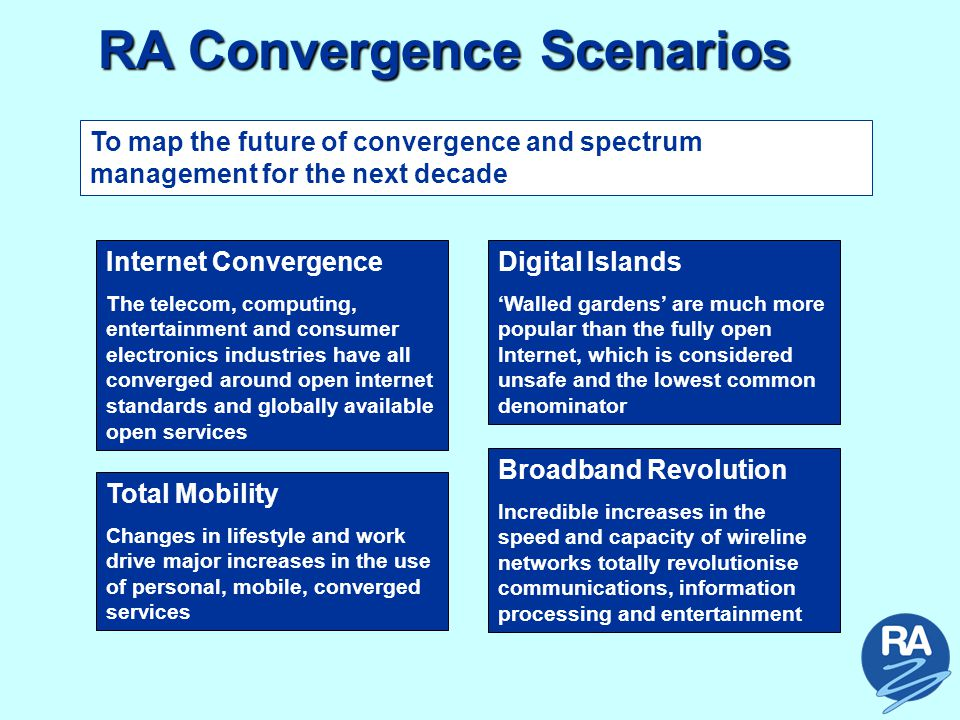 RA Convergence Scenarios Internet Convergence The telecom, computing, entertainment and consumer electronics industries have all converged around open internet standards and globally available open services To map the future of convergence and spectrum management for the next decade Digital Islands 'Walled gardens' are much more popular than the fully open Internet, which is considered unsafe and the lowest common denominator Total Mobility Changes in lifestyle and work drive major increases in the use of personal, mobile, converged services Broadband Revolution Incredible increases in the speed and capacity of wireline networks totally revolutionise communications, information processing and entertainment