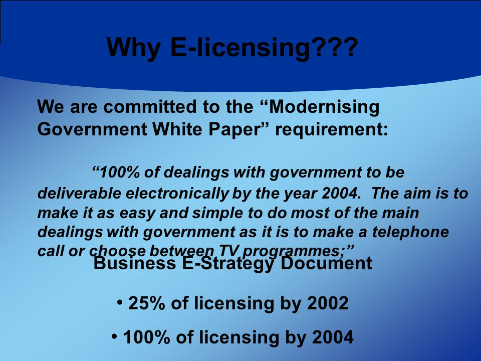 Why E-licensing .