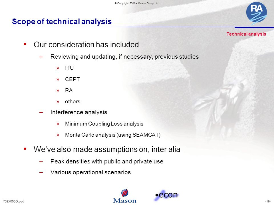-15-Y32X006O.ppt © Copyright 2001 - Mason Group Ltd Scope of technical analysis Our consideration has included – Reviewing and updating, if necessary,
