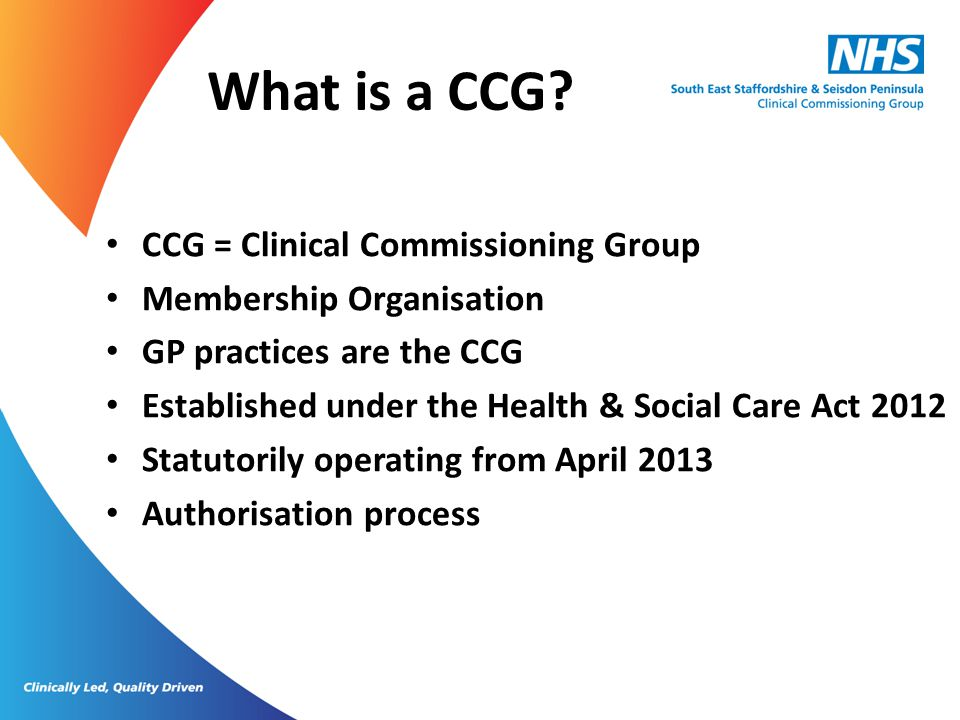What is a CCG.