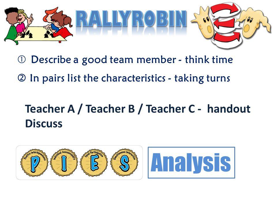 Teacher ATeacher BTeacher C P – Positive Interdependence I – Individual Accountability E – Equal Participation S – Simultaneous Interaction Analysis