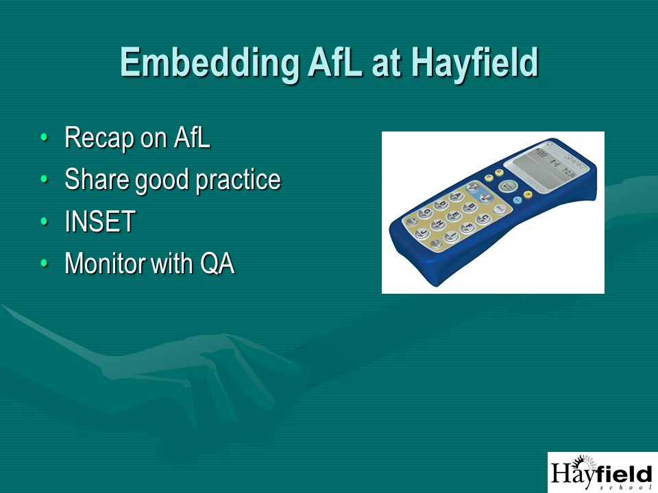 Embedding AfL at Hayfield Recap on AfLRecap on AfL Share good practiceShare good practice INSETINSET Monitor with QAMonitor with QA