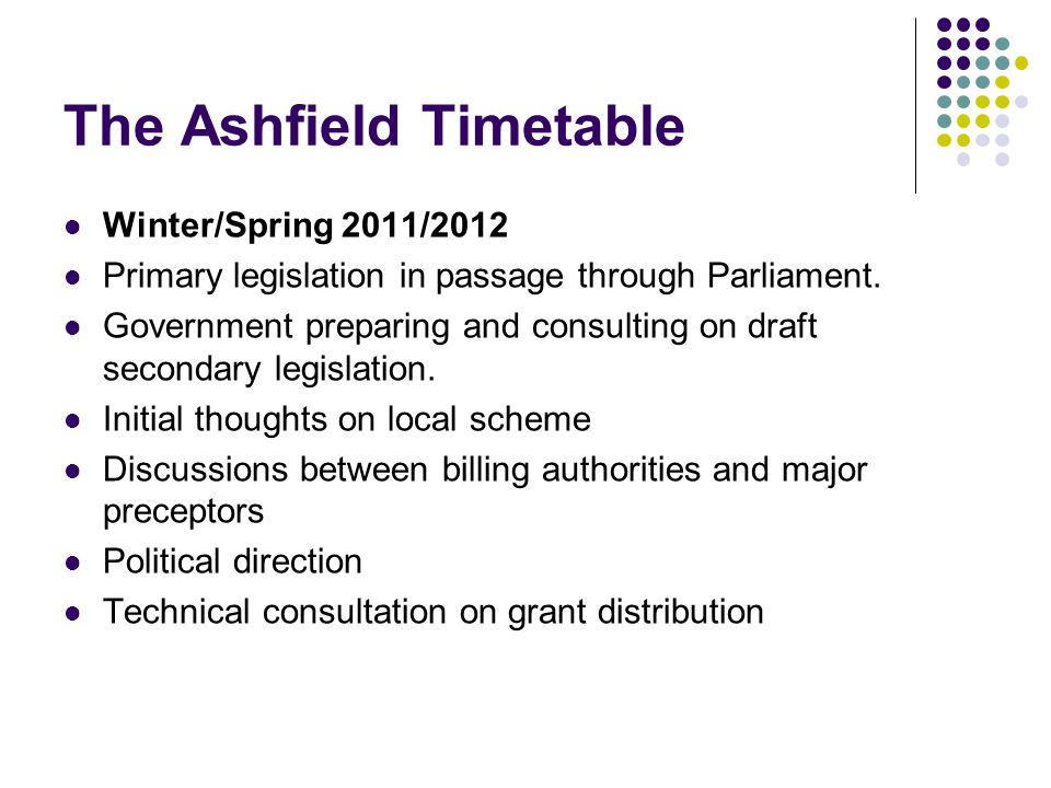 The Ashfield Timetable Winter/Spring 2011/2012 Primary legislation in passage through Parliament.