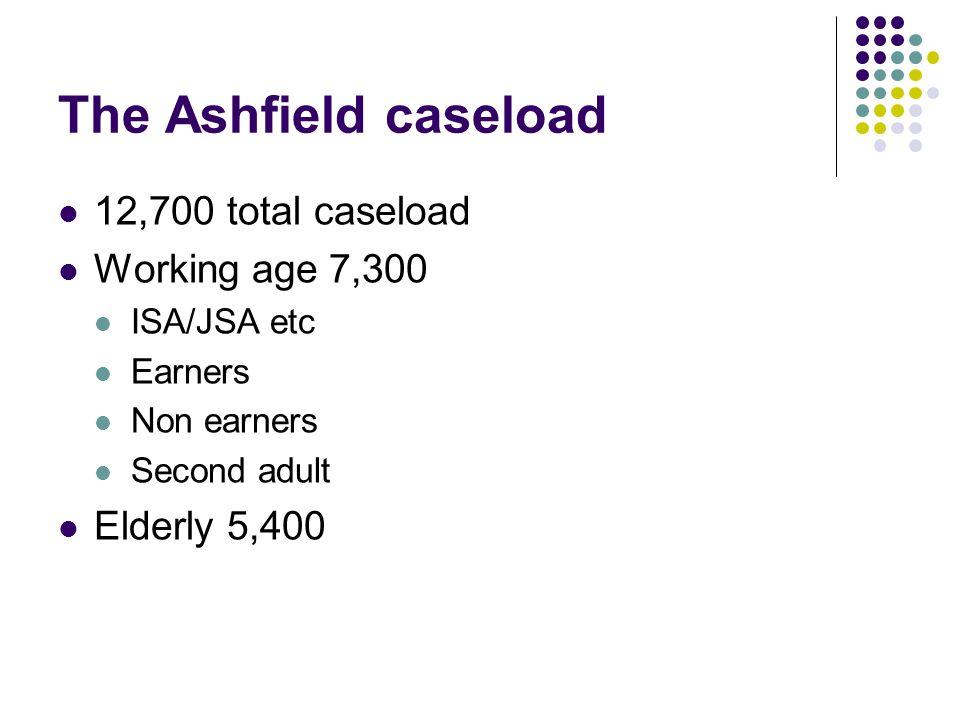 The Ashfield caseload 12,700 total caseload Working age 7,300 ISA/JSA etc Earners Non earners Second adult Elderly 5,400