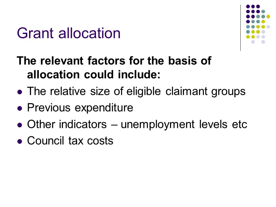 Grant allocation The relevant factors for the basis of allocation could include: The relative size of eligible claimant groups Previous expenditure Other indicators – unemployment levels etc Council tax costs