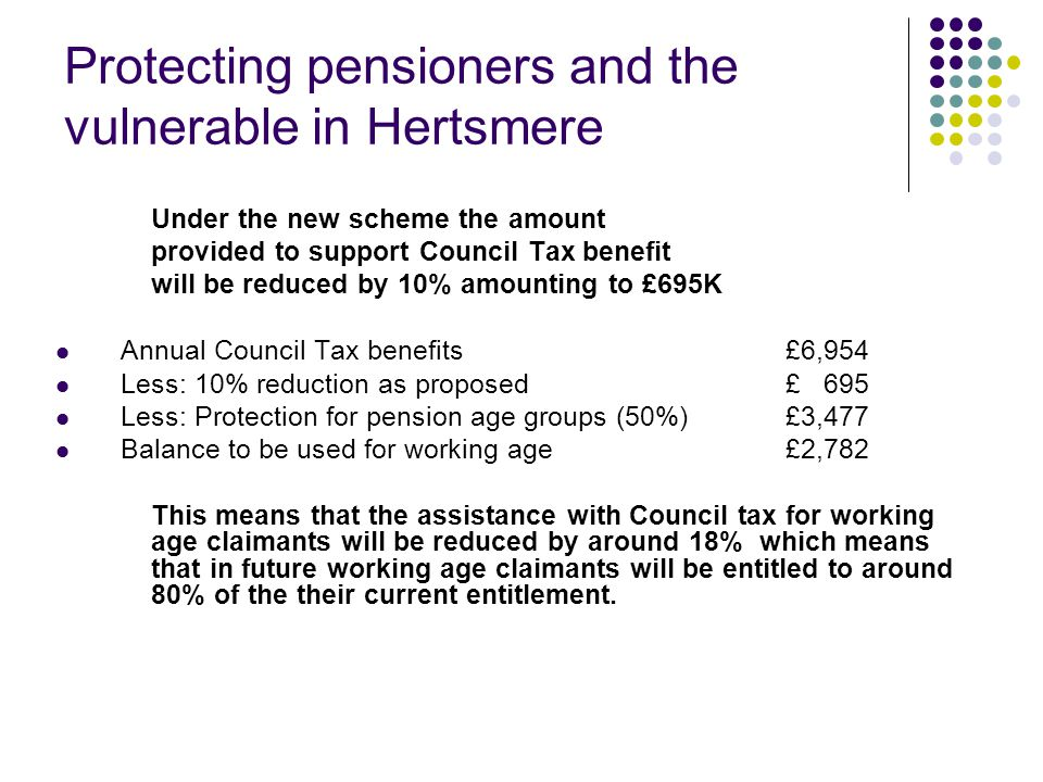 Protecting pensioners and the vulnerable in Hertsmere Under the new scheme the amount provided to support Council Tax benefit will be reduced by 10% amounting to £695K Annual Council Tax benefits £6,954 Less: 10% reduction as proposed£ 695 Less: Protection for pension age groups (50%)£3,477 Balance to be used for working age£2,782 This means that the assistance with Council tax for working age claimants will be reduced by around 18% which means that in future working age claimants will be entitled to around 80% of the their current entitlement.