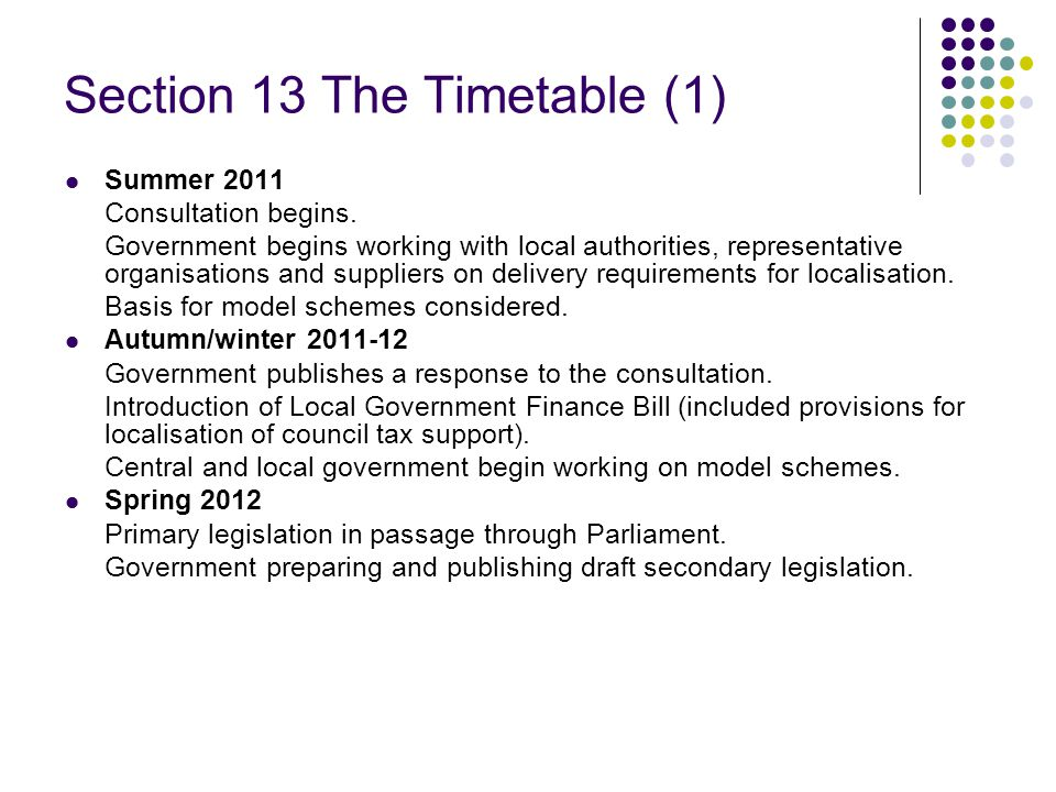 Section 13 The Timetable (1) Summer 2011 Consultation begins.