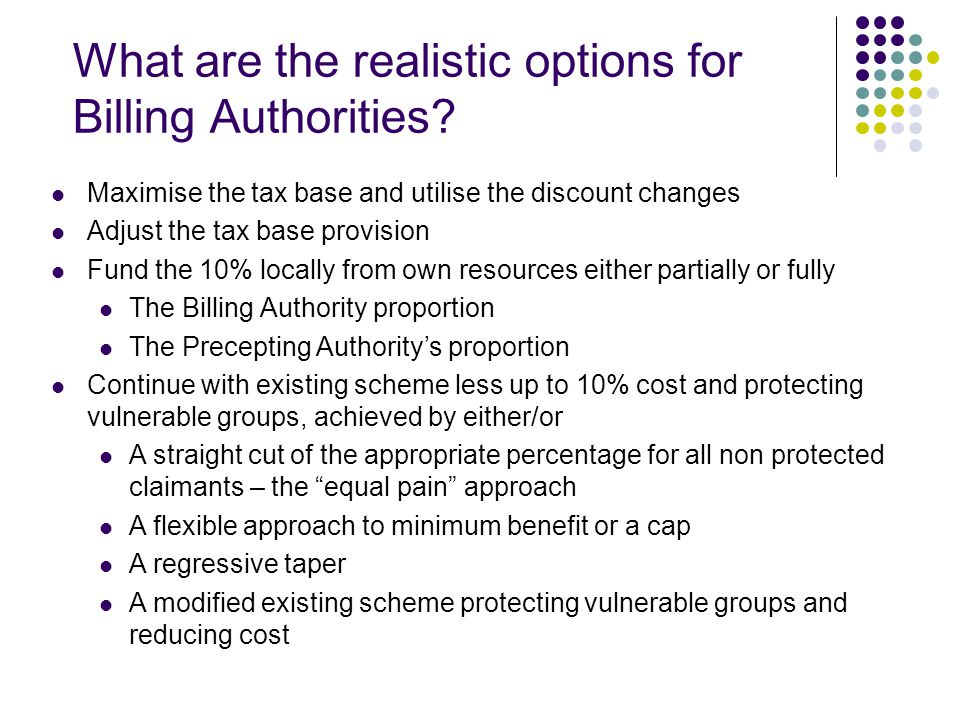 What are the realistic options for Billing Authorities.