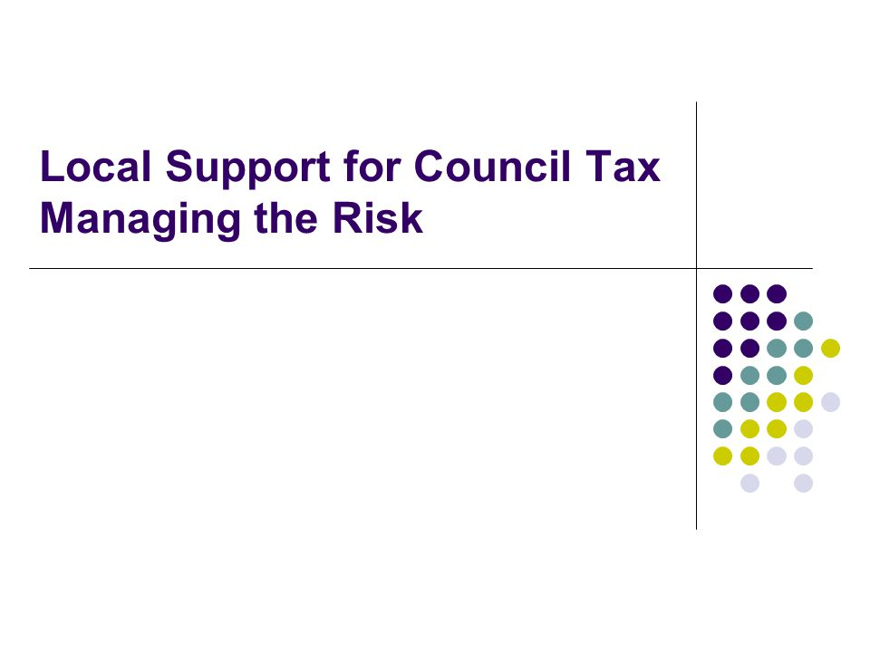 Local Support for Council Tax Managing the Risk