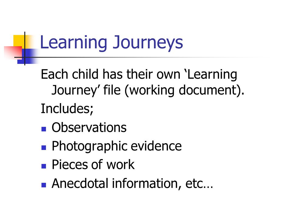 Learning Journeys Each child has their own 'Learning Journey' file (working document). Includes; Observations Photographic evidence Pieces of work Ane