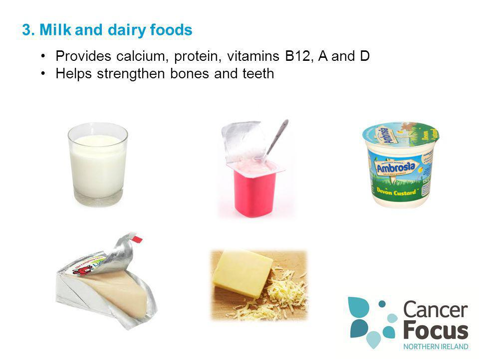 3. Milk and dairy foods Provides calcium, protein, vitamins B12, A and D Helps strengthen bones and teeth