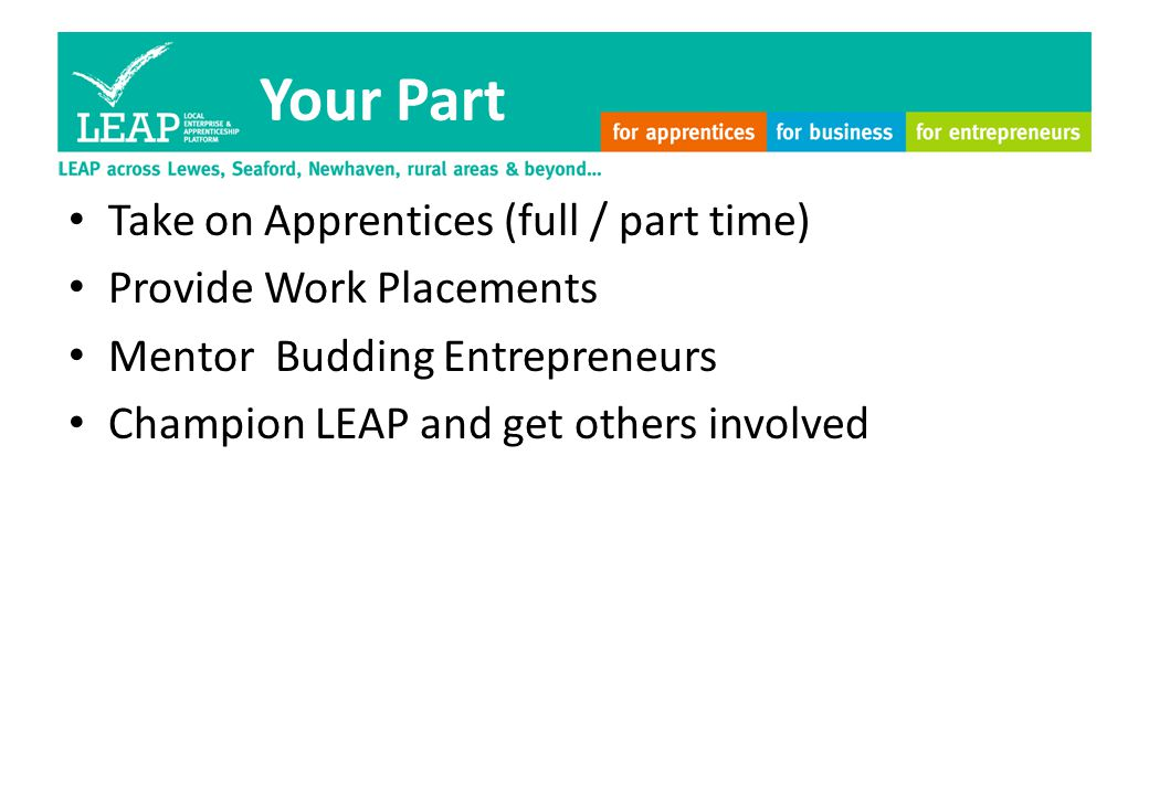 Your Part Take on Apprentices (full / part time) Provide Work Placements Mentor Budding Entrepreneurs Champion LEAP and get others involved