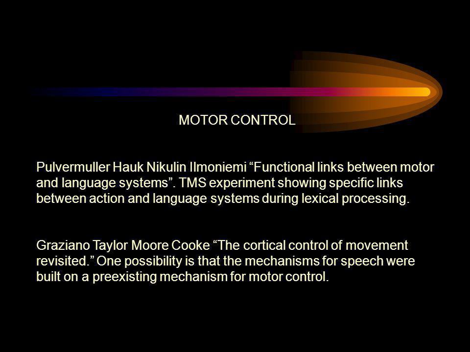 "MOTOR CONTROL Pulvermuller Hauk Nikulin Ilmoniemi ""Functional links between motor and language systems"". TMS experiment showing specific links between"
