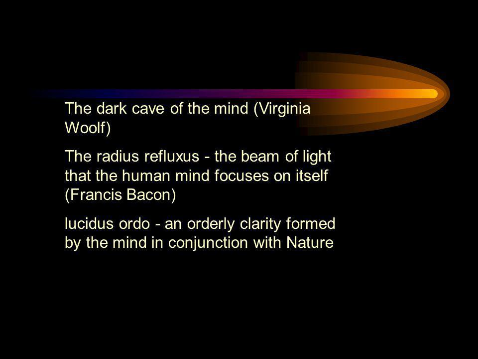 The dark cave of the mind (Virginia Woolf) The radius refluxus - the beam of light that the human mind focuses on itself (Francis Bacon) lucidus ordo