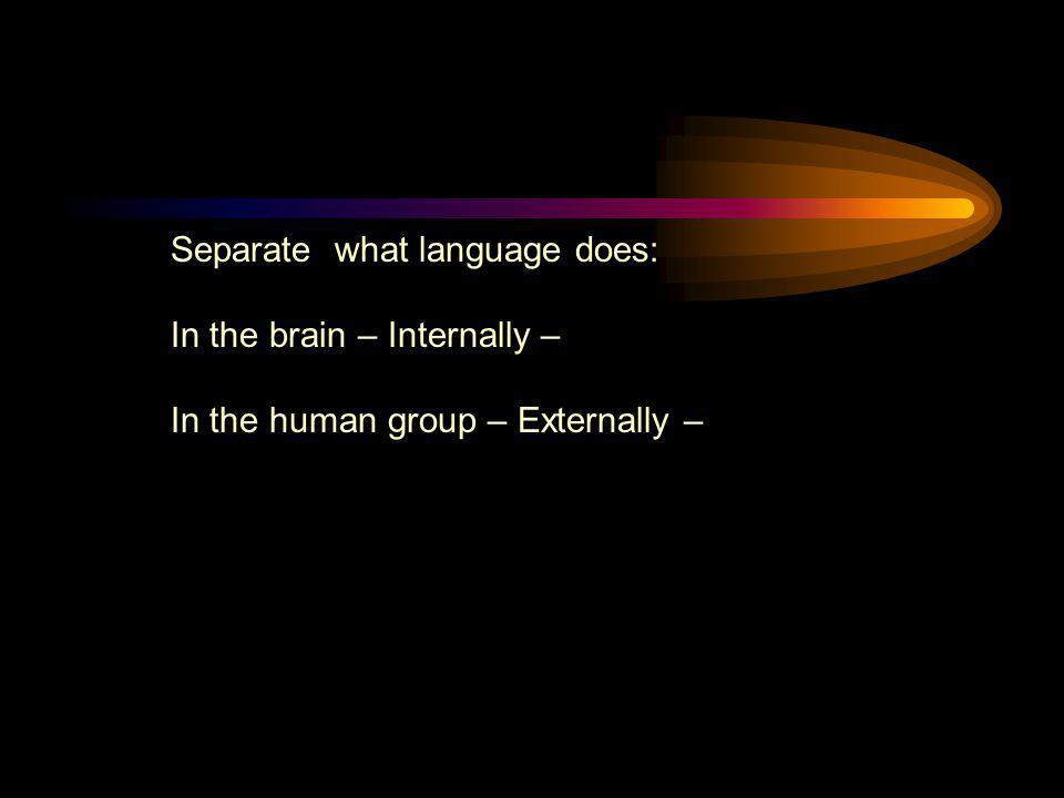Separate what language does: In the brain – Internally – In the human group – Externally –