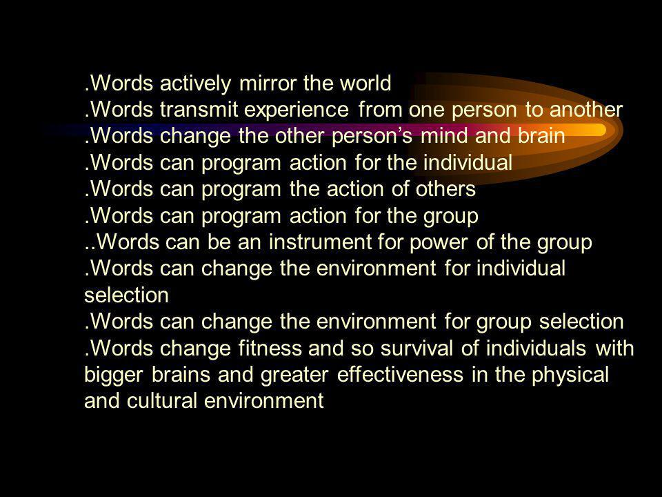 .Words actively mirror the world.Words transmit experience from one person to another.Words change the other person's mind and brain.Words can program