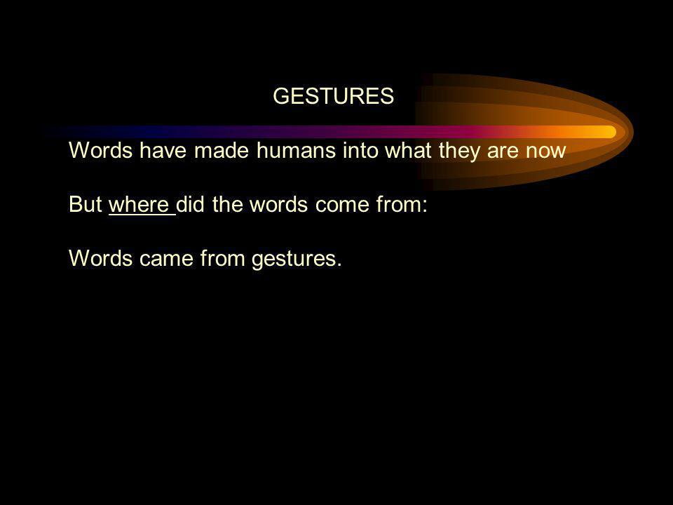 GESTURES Words have made humans into what they are now But where did the words come from: Words came from gestures.