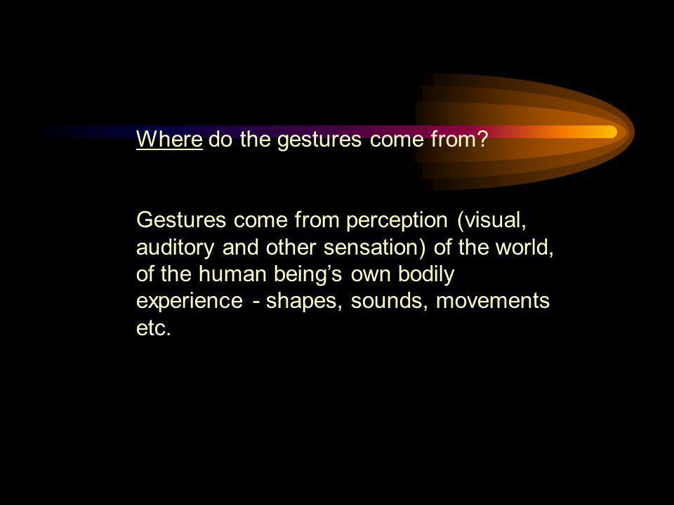 Where do the gestures come from? Gestures come from perception (visual, auditory and other sensation) of the world, of the human being's own bodily ex
