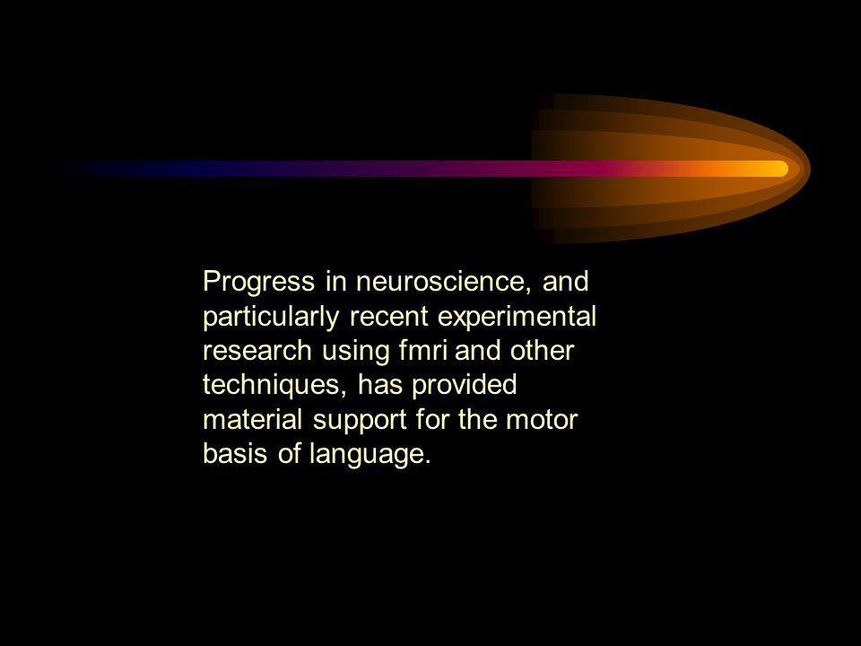 Progress in neuroscience, and particularly recent experimental research using fmri and other techniques, has provided material support for the motor b