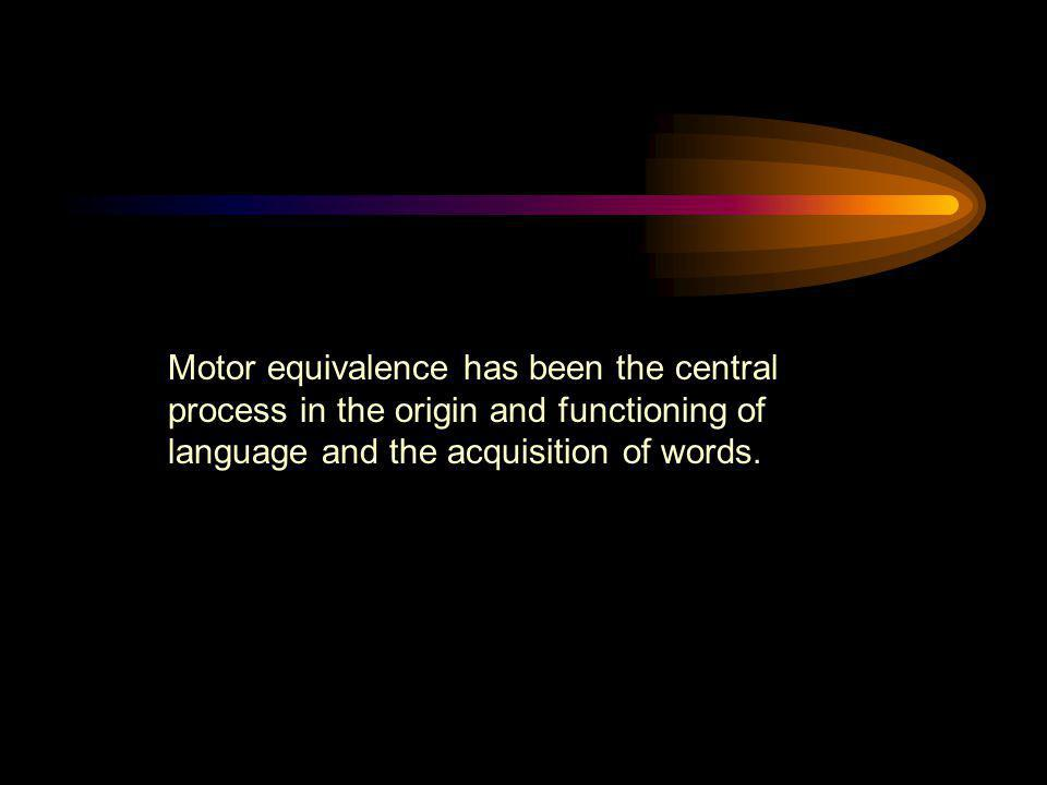 Motor equivalence has been the central process in the origin and functioning of language and the acquisition of words.