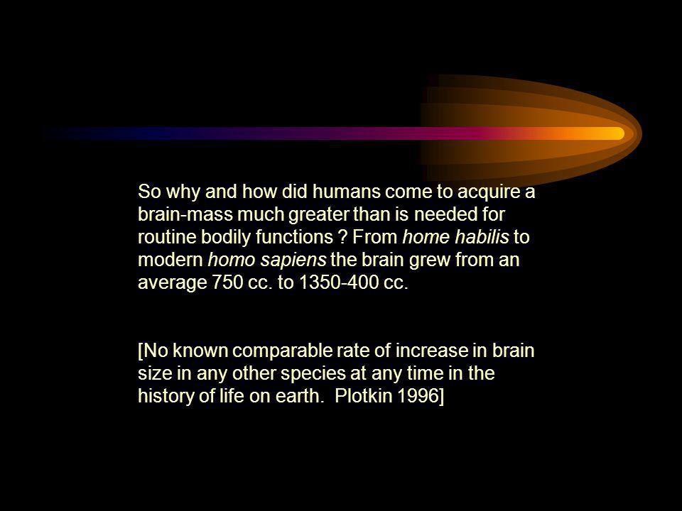 So why and how did humans come to acquire a brain-mass much greater than is needed for routine bodily functions ? From home habilis to modern homo sap