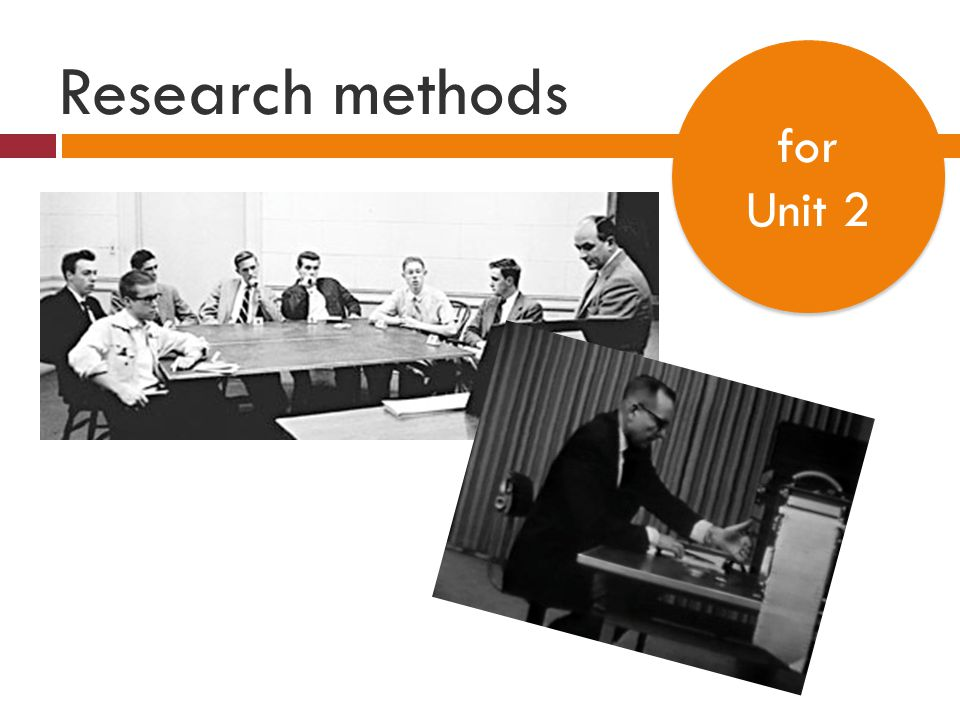 Research methods for Unit 2 for Unit 2