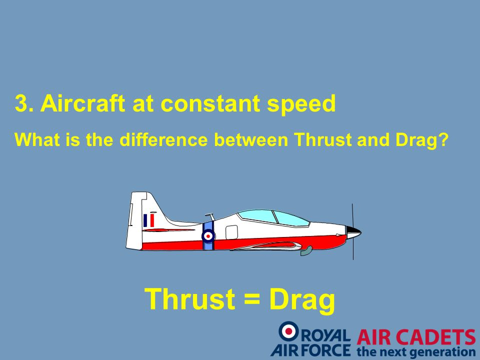 3. Aircraft at constant speed What is the difference between Thrust and Drag? Thrust = Drag
