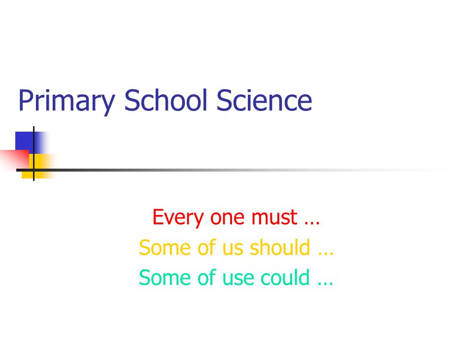 Primary School Science Every one must … Some of us should … Some of use could …