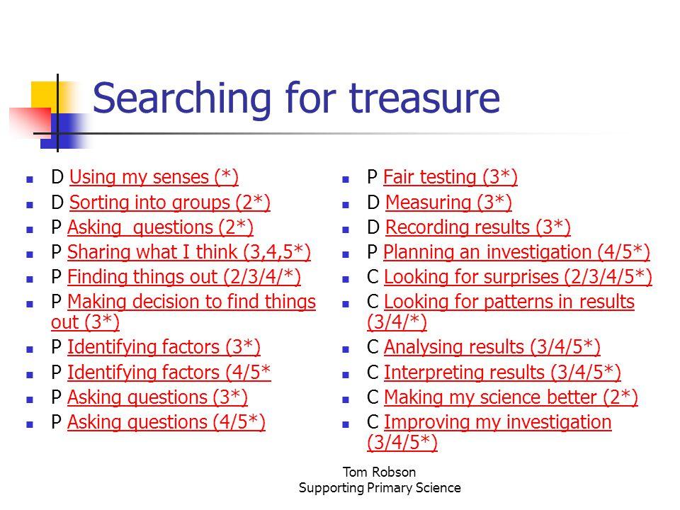 Tom Robson Supporting Primary Science Searching for treasure D Using my senses (*)Using my senses (*) D Sorting into groups (2*)Sorting into groups (2*) P Asking questions (2*)Asking questions (2*) P Sharing what I think (3,4,5*)Sharing what I think (3,4,5*) P Finding things out (2/3/4/*)Finding things out (2/3/4/*) P Making decision to find things out (3*)Making decision to find things out (3*) P Identifying factors (3*)Identifying factors (3*) P Identifying factors (4/5*Identifying factors (4/5* P Asking questions (3*)Asking questions (3*) P Asking questions (4/5*)Asking questions (4/5*) P Fair testing (3*)Fair testing (3*) D Measuring (3*)Measuring (3*) D Recording results (3*)Recording results (3*) P Planning an investigation (4/5*)Planning an investigation (4/5*) C Looking for surprises (2/3/4/5*)Looking for surprises (2/3/4/5*) C Looking for patterns in results (3/4/*)Looking for patterns in results (3/4/*) C Analysing results (3/4/5*)Analysing results (3/4/5*) C Interpreting results (3/4/5*)Interpreting results (3/4/5*) C Making my science better (2*)Making my science better (2*) C Improving my investigation (3/4/5*)Improving my investigation (3/4/5*)