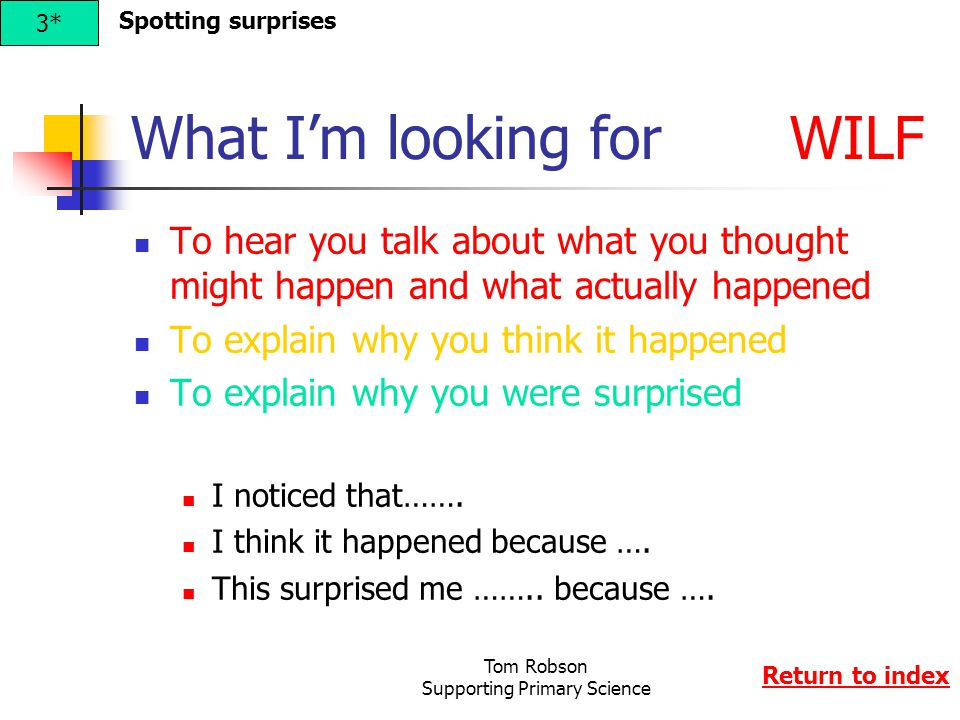 Tom Robson Supporting Primary Science What I'm looking for WILF To hear you talk about what you thought might happen and what actually happened To explain why you think it happened To explain why you were surprised I noticed that…….