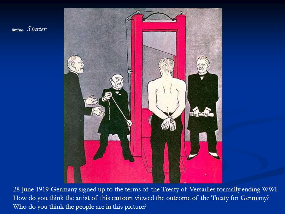 28 June 1919 Germany signed up to the terms of the Treaty of Versailles formally ending WWI.