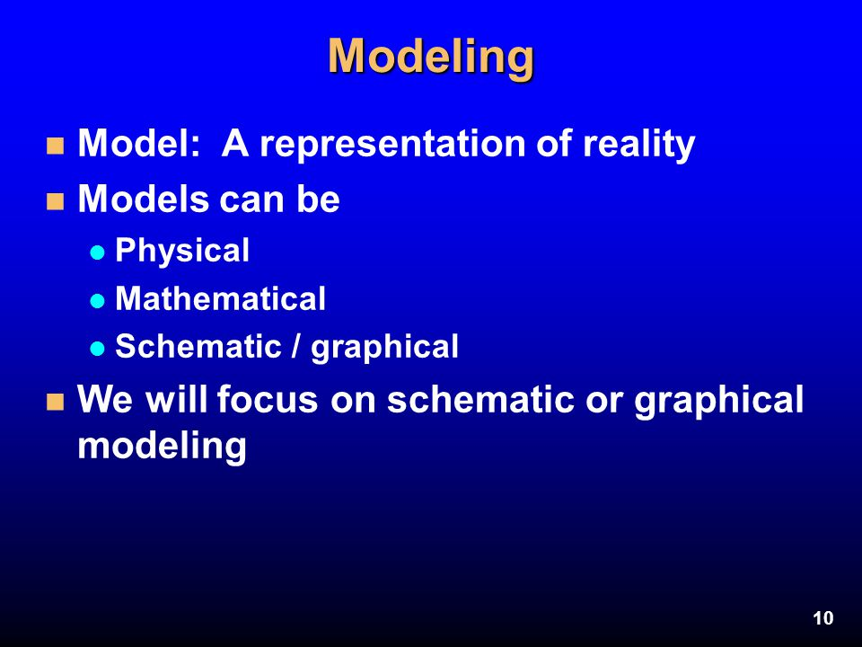 10Modeling n Model: A representation of reality n Models can be l Physical l Mathematical l Schematic / graphical n We will focus on schematic or grap